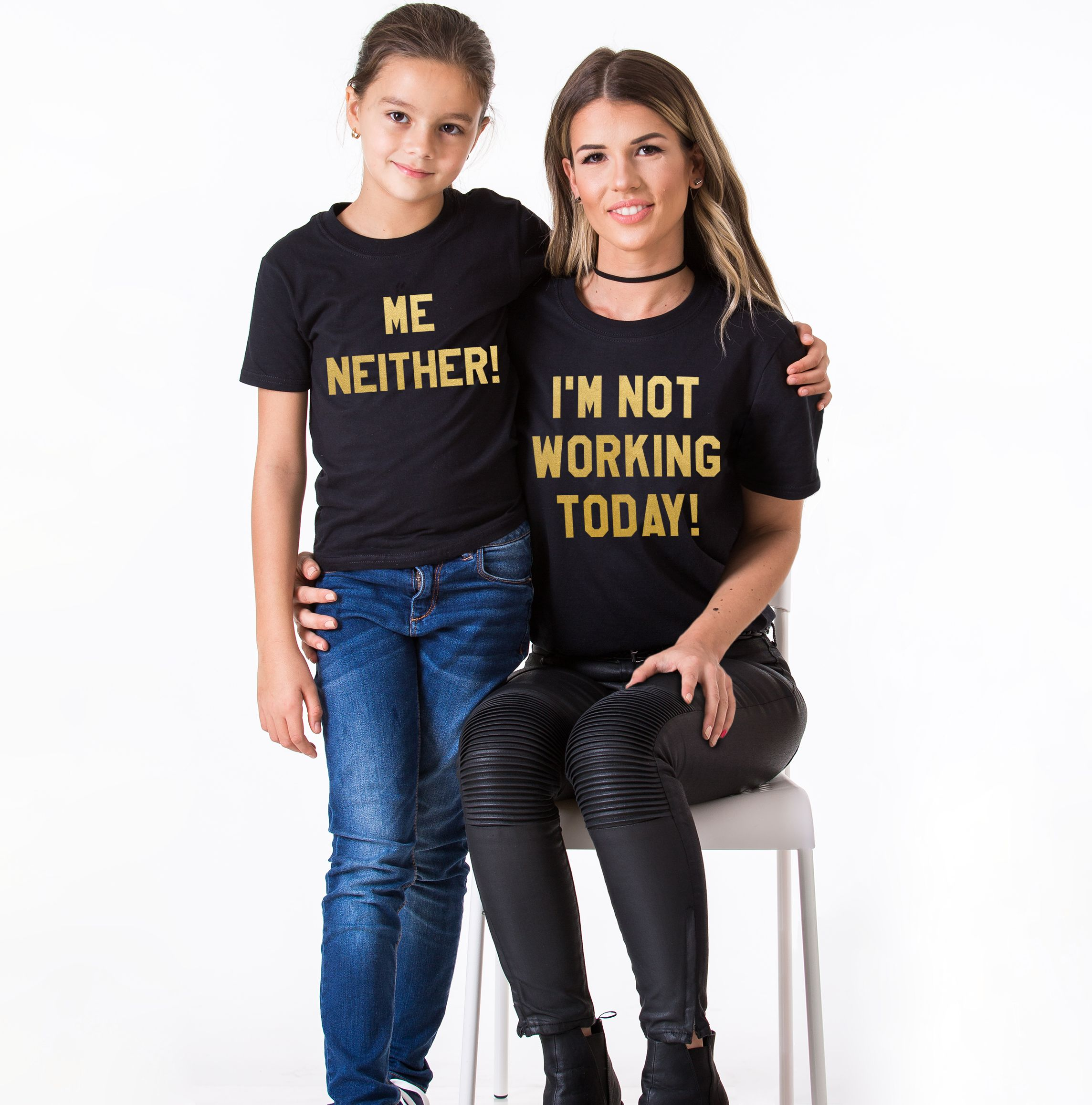 Wonderful Mommy and Me I'm not Working Today, Me Neither Shirts ID84