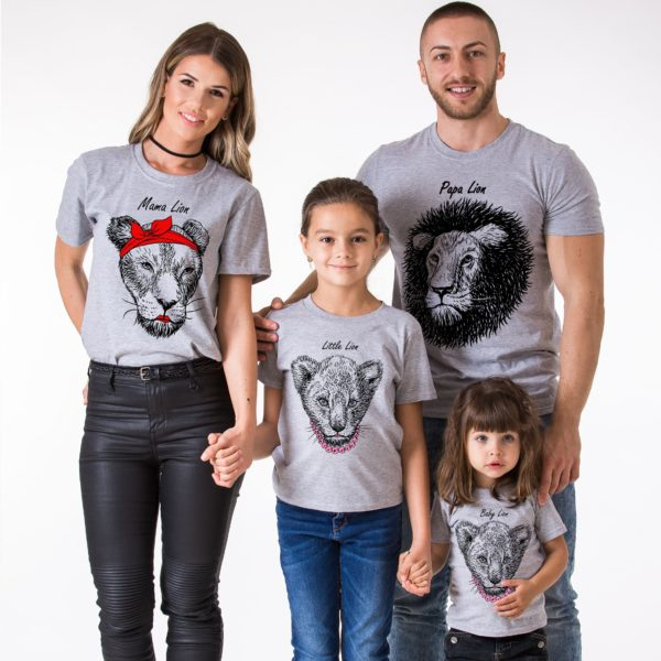 Papa Lion, Mama Lion, Little lion, Baby lion, Gray/Black