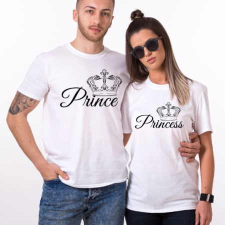 Prince Princess Set, Crowns Print, Matching Couples Shirts