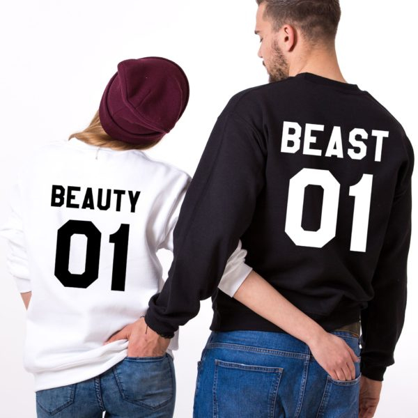 Beauty 01, Beast 01, Sweatshirts, White/Black, Black/White