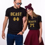 Beauty Beast with ribbon and dumbbell, Black/Gold