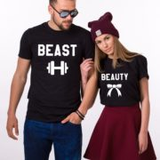 Beauty Beast with ribbon and dumbbell, Matching Couples Shirts