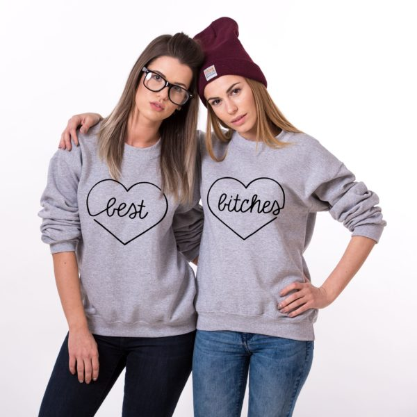 Best Bitches Sweatshirt, Gray/Black