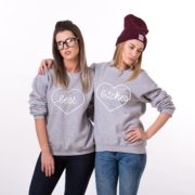 Best Bitches Sweatshirt, Gray/White
