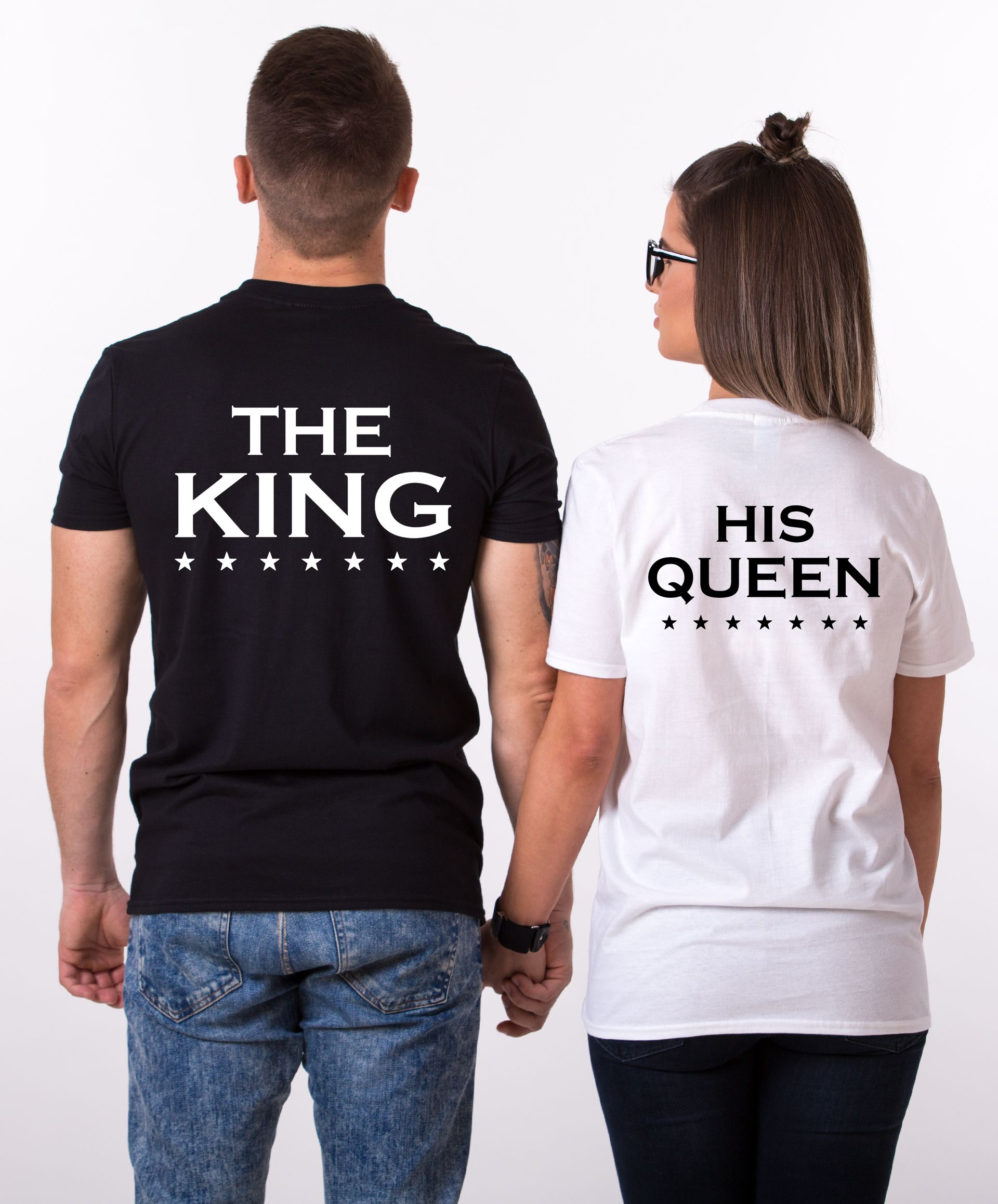 fefeb7d7b0 King Queen Stars Print, with stars, Matching Couples Shirts