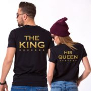 King Queen Stars Print, Her King His Queen Matching Couples Shirts