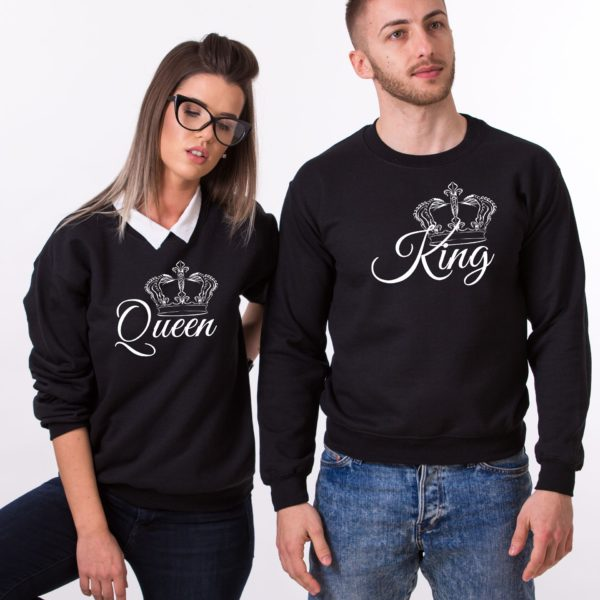 King, Queen, Crowns, Sweatshirts, Black/White