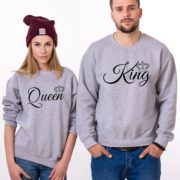 King, Queen, Crowns, Sweatshirts, Gray/Black