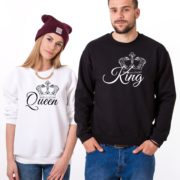 King, Queen, Crowns, Sweatshirts, White/Black, Black/White