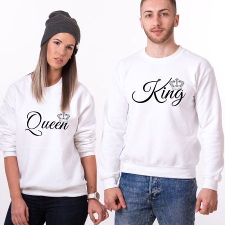 Matching Couple Sweatshirts, King, Queen, small crowns