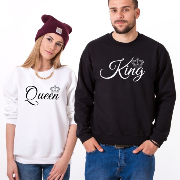 King, Queen, Small Crowns, Sweatshirts, White/Black, Black/White