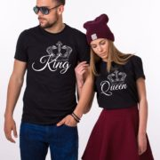 King, Queen, with big crowns, Black/White