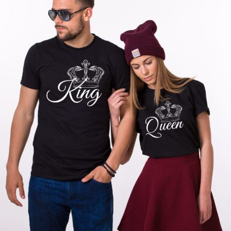 King, Queen, with big crowns, Matching Couples Shirts