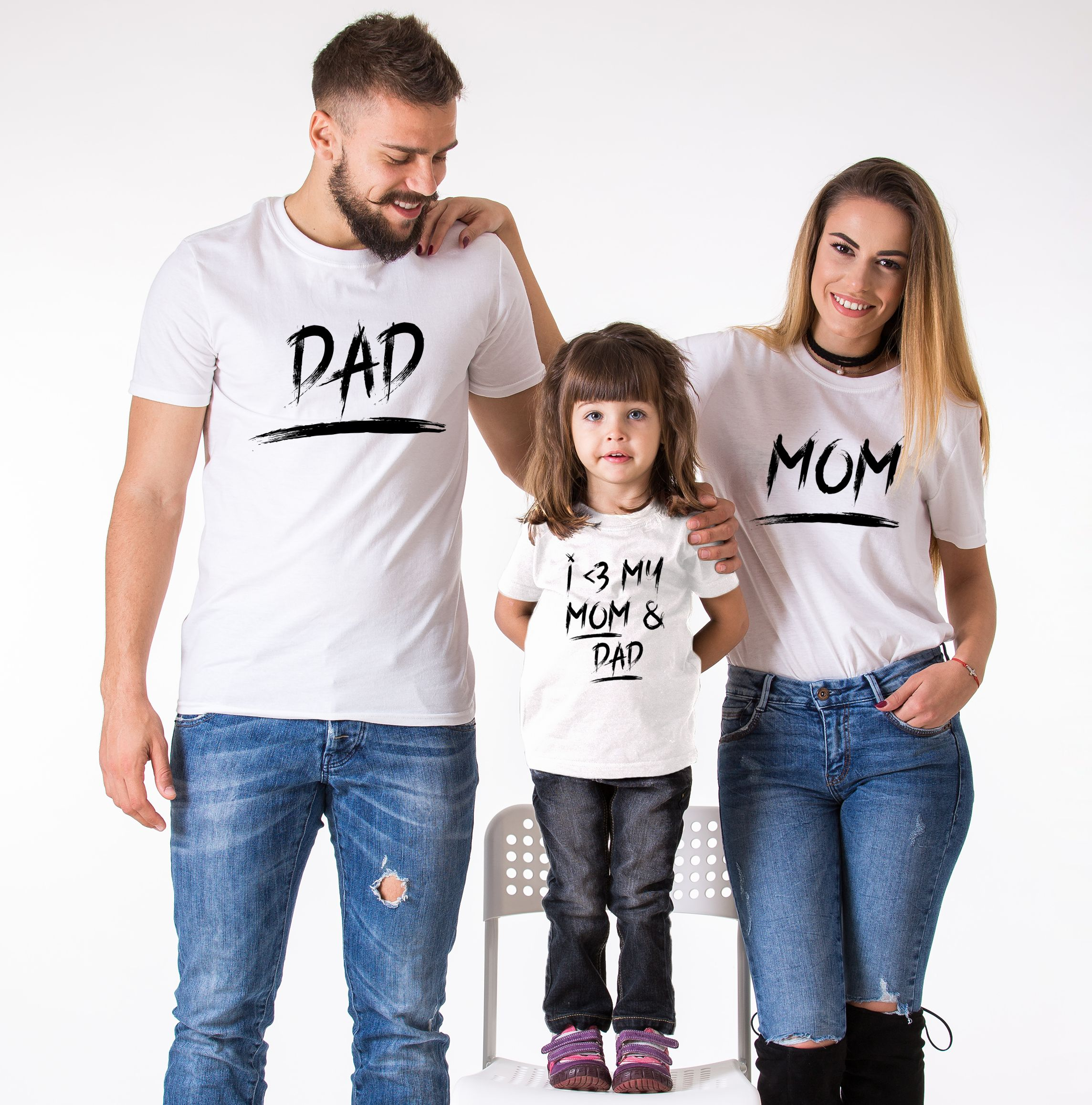 f550d5048 Matching Mom Dad Kid Shirts, Mom, Dad, I <3 My Mom and Dad