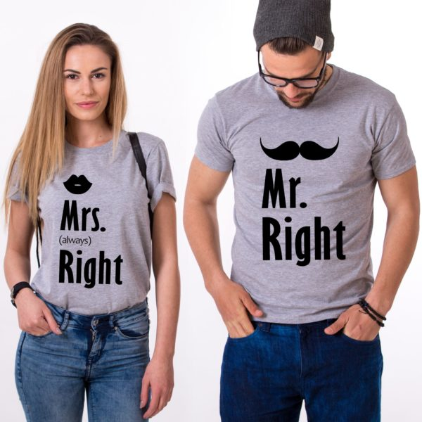 Mr. Right, Mrs. Always Right, Shirts, Gray/Black