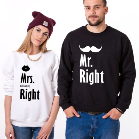 Couples Sweatshirts, Mr. Right, Mrs. Always Right