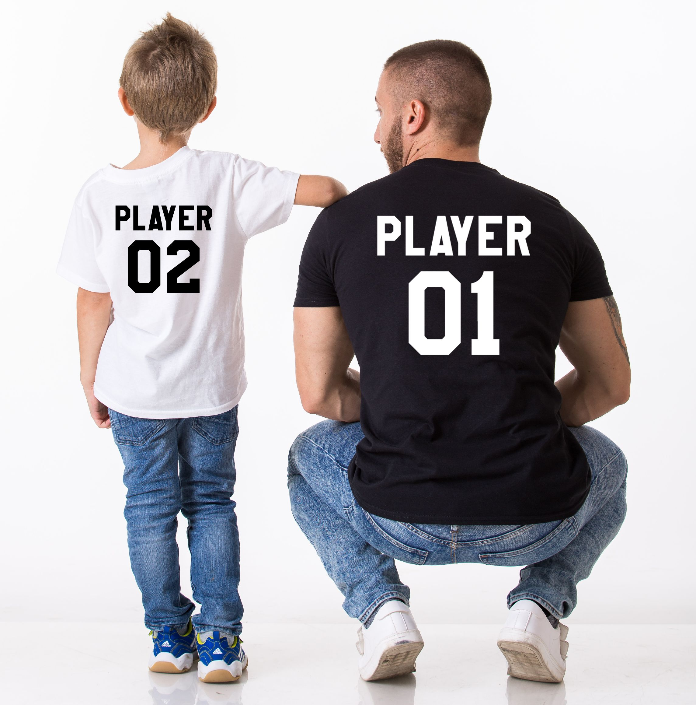 father son shirt player 01 player 02 matching daddy and