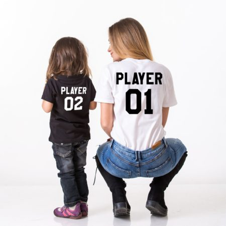 Player 01, Player 02, Matching Mother Kid Shirts