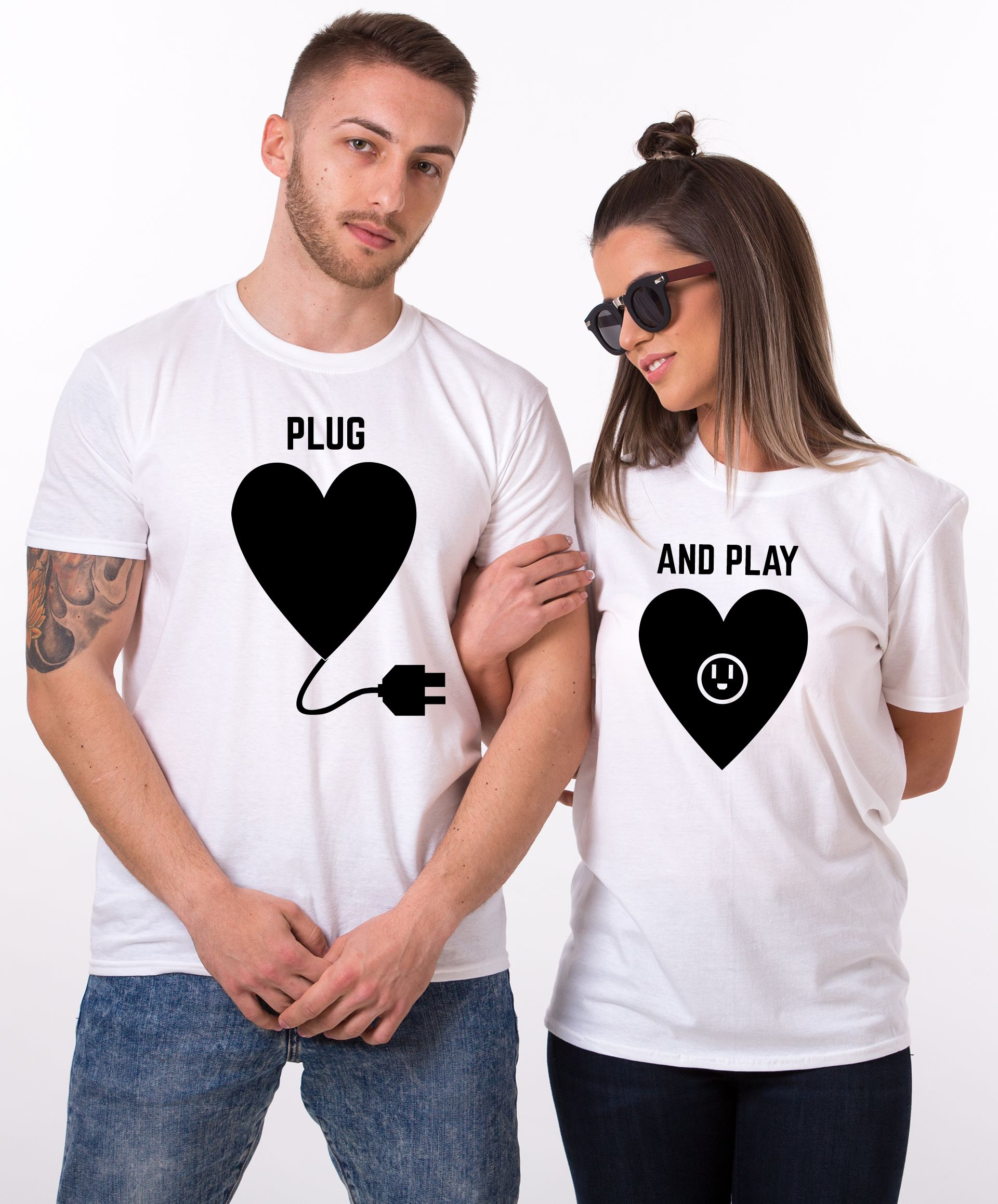 Plug play shirts plug and play matching couples shirts for Couple polo shirts online