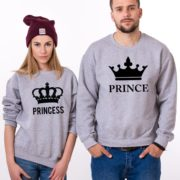 Prince, Princess, Big Crowns, Sweatshirt, Gray/Black
