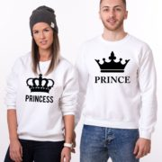 Prince, Princess, Big Crowns, Sweatshirt, White/Black