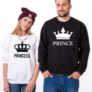 Prince, Princess, Big Crowns, Sweatshirt, White/Black, Black/White