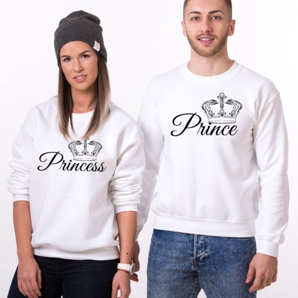 Prince, Princess, Crowns, Sweatshirts, White/Black