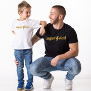 Super Dad Super Kid, White/Gold, Black/Gold