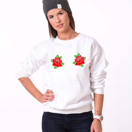 Roses Sweatshirt, Flower Sweatshirt, Pocket Double Print