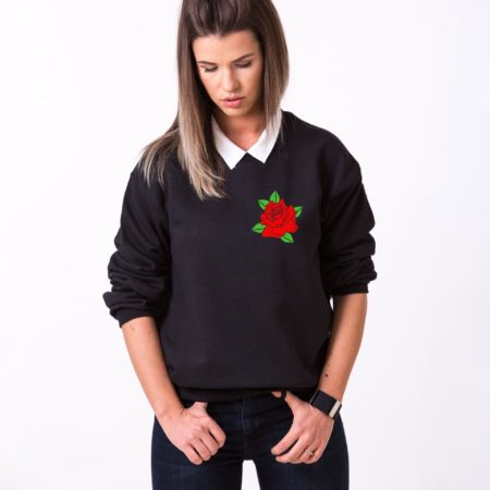 Rose Sweatshirt, Flower Sweatshirt, Pocket Rose, Unisex