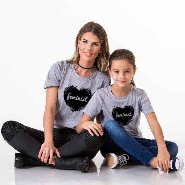 Feminist Mom, Feminist Daughter, Gray/Black