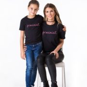 Feminist Mother, Feminist Daughter, Black/Pink
