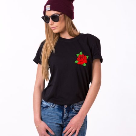 Rose Shirt, Pocket Rose, Flower Shirt Single Shirt, Unisex