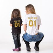 Best Mom, Best Kid, Black/Gold, White/Gold