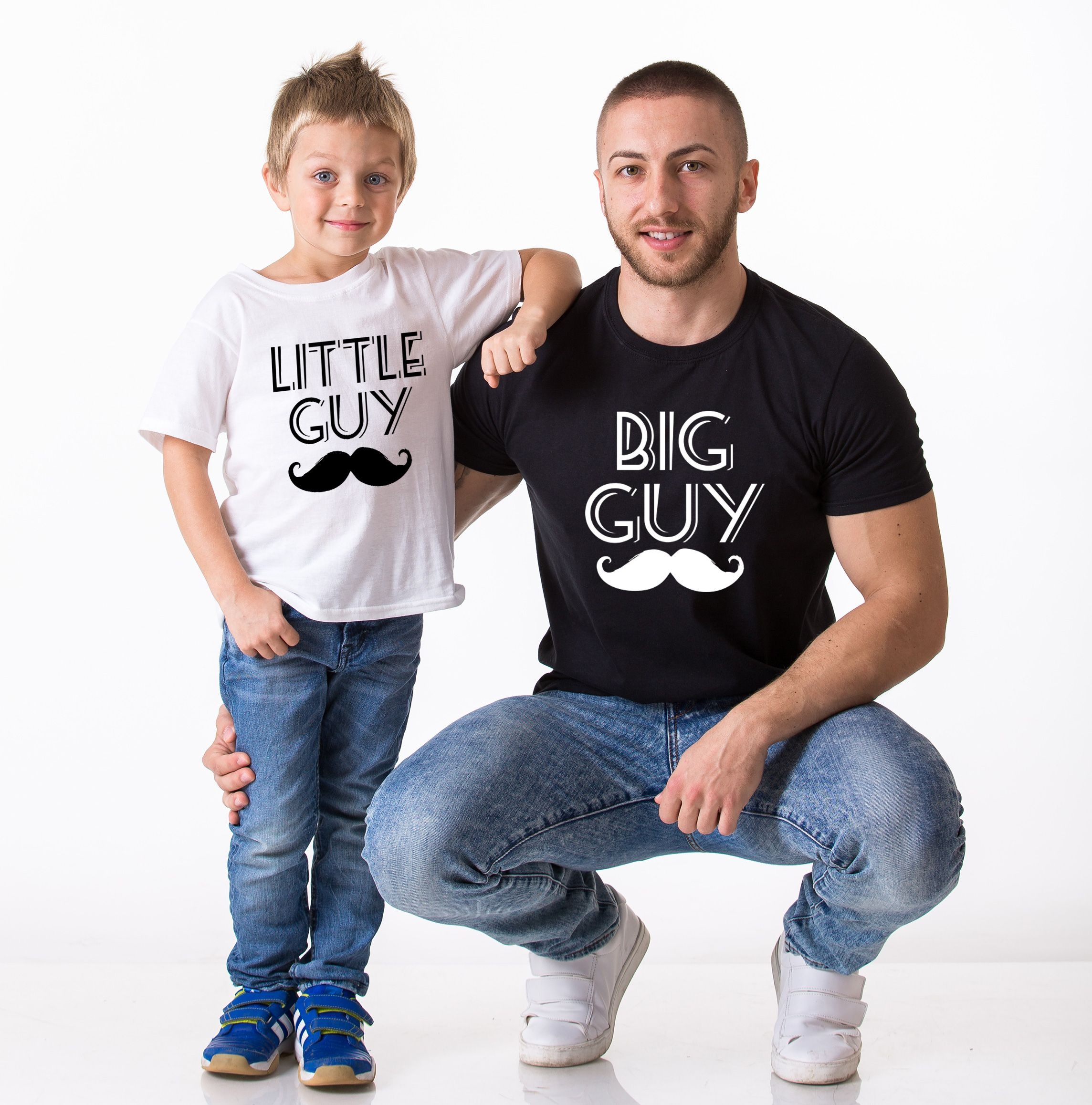 Big Guy Little Guy Shirts Mustache Matching Daddy And Me