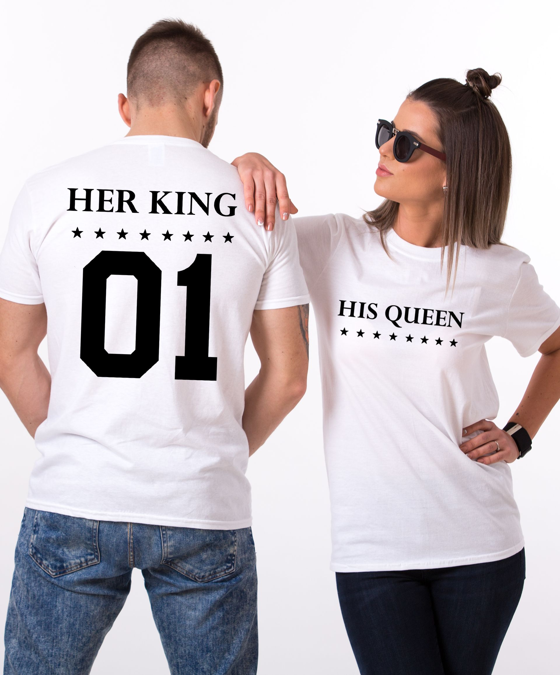 879d778f098 Her King His Queen, Double Sided, Matching Couples Shirts