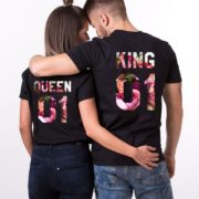King Queen 01 Floral, Matching Couples Shirts, UNISEX