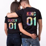 King Queen Watercolor, Matching Couples Shirts, UNISEX