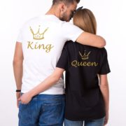 King, Queen, Crowns, White/Gold, Black/Gold