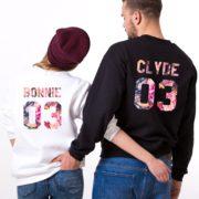 Bonnie 03, Clyde 03, Floral Sweatshirts, White, Black
