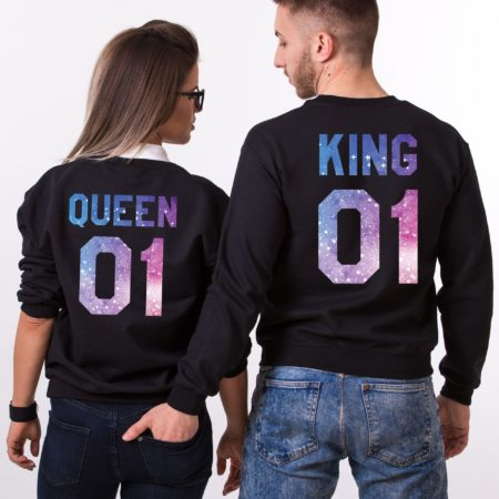 King and Queen Sweatshirts, Galaxy Collection, Couples Sweatshirts