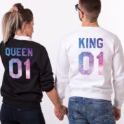 King 01, Queen 01, Black, White, Galaxy