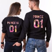 Prince 01, Princess 01, Floral Sweatshirts, Black