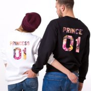 Prince 01, Princess 01, Floral Sweatshirts, White, Black