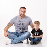 My Dad is my Hero, My Son is my Hero, Gray/Black, Black/White