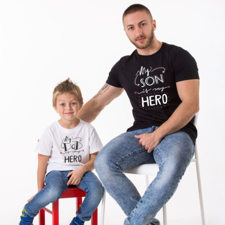 My Dad is my Hero Shirt, My Son is my Hero, Matching Daddy and Me