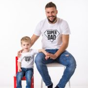Super Dad, Super Kid Shirts, White/Black
