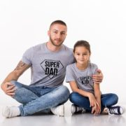 Super Dad, Super Kid Shirts, Gray/Black