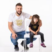 Super Dad, Super Kid Shirts, White/Gold, Black/Gold