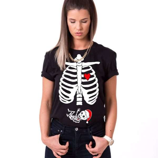 Christmas Maternity Shirt, Skeleton Shirt, Maternity Shirt